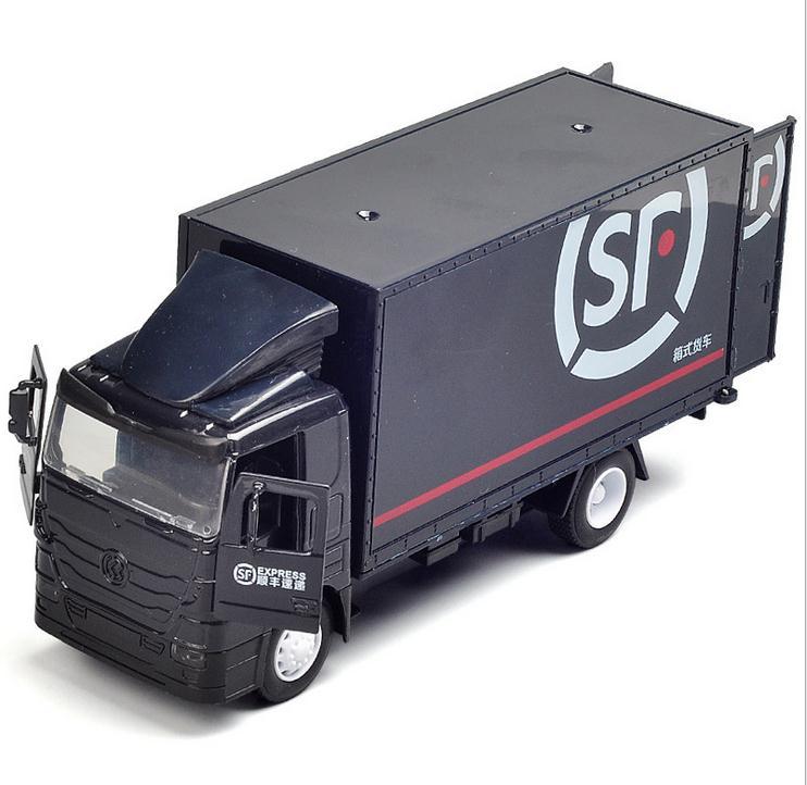 Vehículo de transporte exprés de alta simulación, modelo de portador de poste de extracción de aleación 1 32, vehículos de juguete de música flash, envío gratis