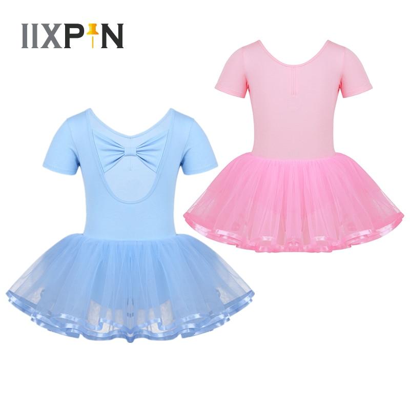IIXPIN Girls Ballet Dancing Dress Bow Back Cotton Top Bodice Short Sleeves Gymnastics Leotard Ballet Tutu Slim Dress For Kids
