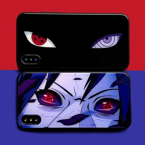 Naruto Sasuke Write round eye Glass Phone Case For iPhone 11 pro 8 7 6 Plus X Xs Max Xr Cartoon Animation Sharingan Cover Coque