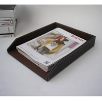 13 5x10 5 a4 leather office desk file document tray container storage box case organizer holder brown 225b
