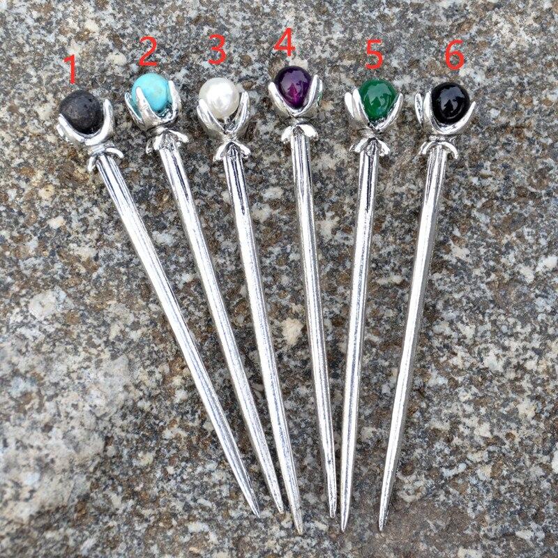 Grampos de cabelo, 1 peça de varas antigas de 6 estilos de prata, vintage, china, étnicas, pérola, lava, obsidiana, grampos de cabelo