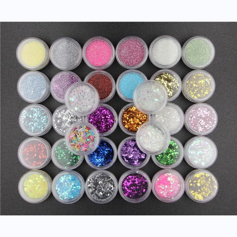 34 PCS/SET nail art glitter sequins set light therapy Manicure DIY nail art decoration glitter Sequi