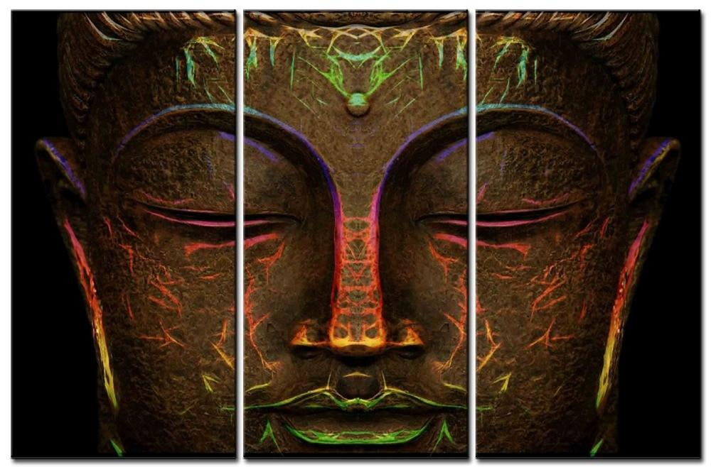 3 piezas de pintura de Color, decoración de Cabeza de Buda, pintura para decoración del hogar, lienzo impreso, lienzo, pintura, arte de pared
