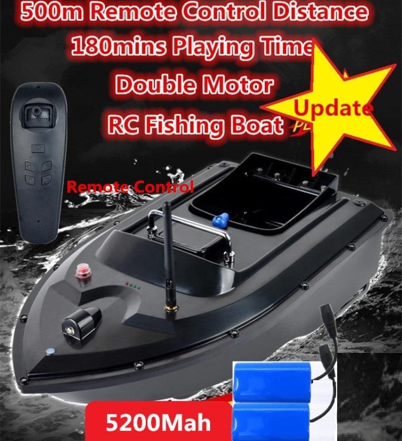 Nouvelle mise à jour RC pêche appât bateau 5200mah batterie 180 minutes temps dactivité 500m RC Distance Double moteur RC poisson bateau hors-bord jouets