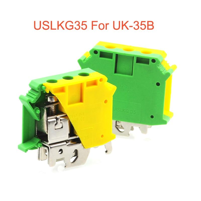1pcs USLKG35 Ground Terminal block DIN Rail Screw Terminal Blocks UK-35B UK-35N yellow green Earth morsettiera connector 35mm2