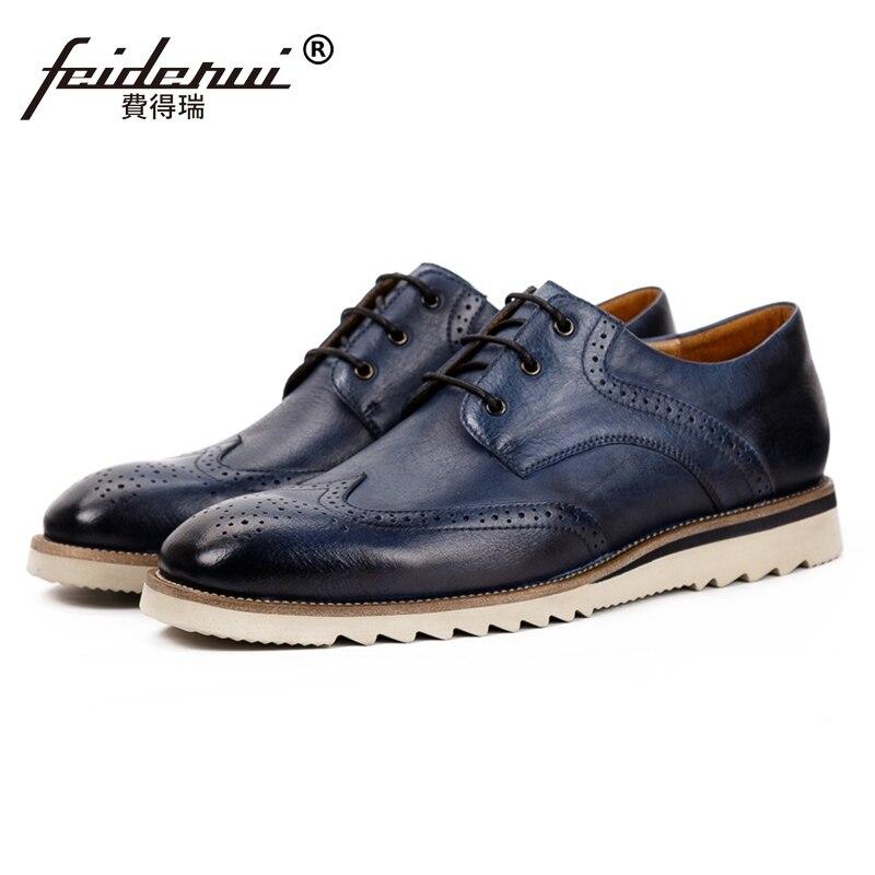 New Vintage Round Toe Man Comfortable Brogue Shoes Genuine Leather Wingtip Designer Men's Handmade Flat Platform Footwear SS500