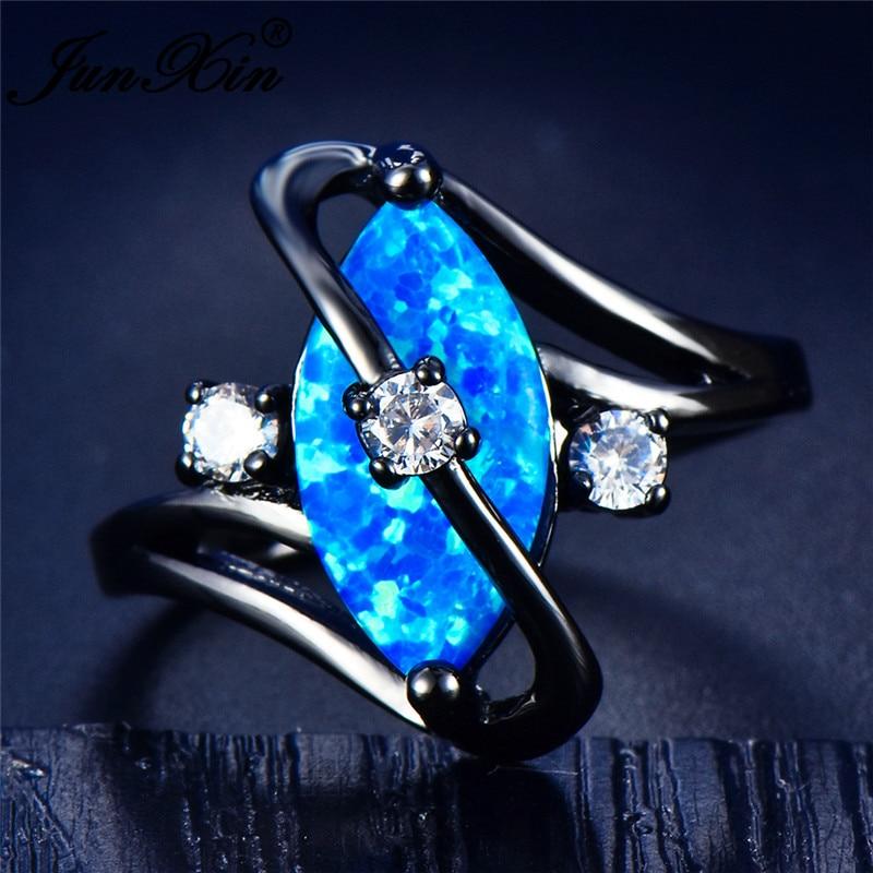 JUNXIN anillos de ópalo de fuego azules de lujo para hombre y mujer, anillo de compromiso de piedra natal con ojo de caballo de circón relleno de oro negro para hombre