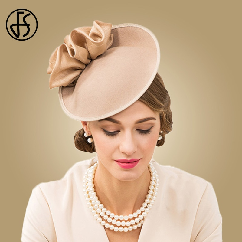 FS-قبعة فيدورا من الصوف 100% للنساء ، قبعة نسائية على الطراز البريطاني بتصميم زهرة عتيق ، قبعة دائرية من اللؤلؤ الأسود