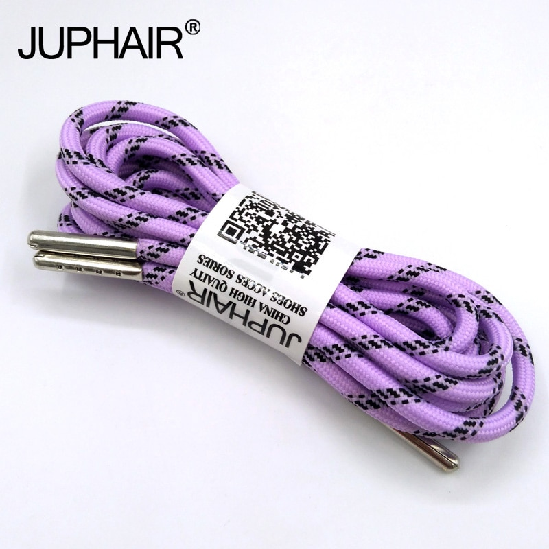 1-12 Pairs Llight purple Black Outdoor Sports Round Shoelaces Shoes Lace Boot Athletic Unisex Rope Athletic Metal Head Shoelaces