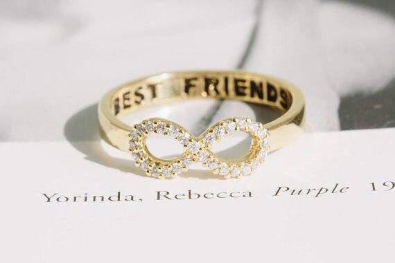 Oly2u Crystal Best Friend Infinity Best Friends Rings Simple Lovely Pretty  For Women Trendy Girls rings