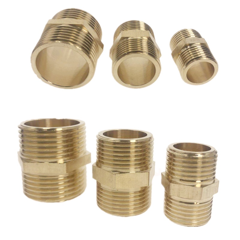 brass pipe hex nipple fitting quick adapter 1 8 1 4 3 8 1 2 3 4 1 bsp male thread water oil and gas connector Brass Pipe Hex Nipple Fitting Quick Adapter 1/8 1/4 3/8 1/2 3/4 1 BSP Male Thread Water, oil and gas Connector