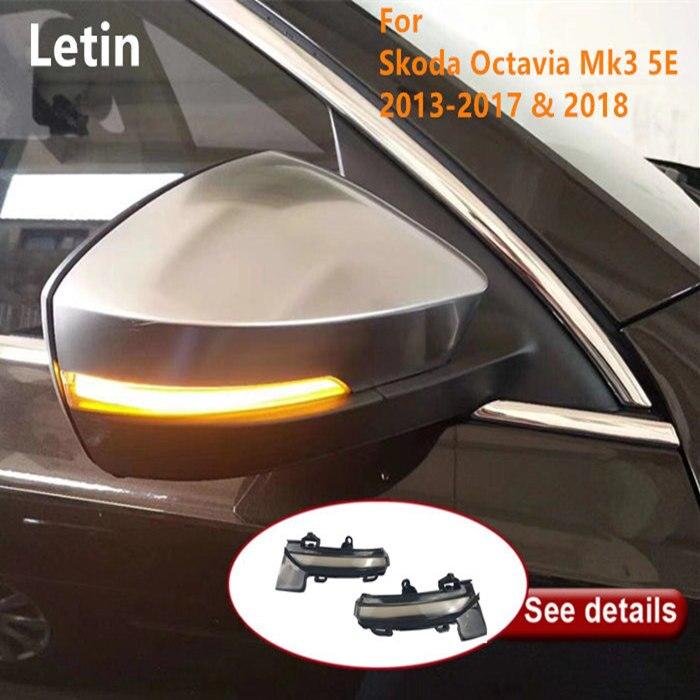 Letin para Skoda Octavia Mk3 5E 2014 ~ 2018 VW T-Roc 2018 2019 espejo indicador dinámico intermitente pergamino luz LED de intermitente