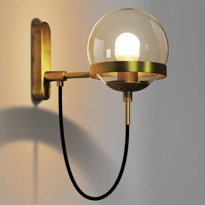 הפוסטמודרנית מינימליסטי ברזל זכוכית עגול קיר מנורת מעבר חדר שינה מנורה שליד המיטה נורדי פשוט סלון בית תפאורה קיר תאורה