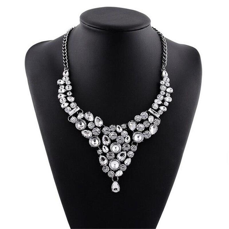 2016 Nuevo diseño de marca de lujo inspirado AB Flor de cristal claro Collar llamativo collares babero Collar Mujer Accesorios