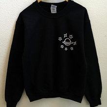 Planet & Stars Sweatshirt Graphic Funny Casual O-Neck Hoodies Moletom do Tumblr Hoodies Unisex Aesth
