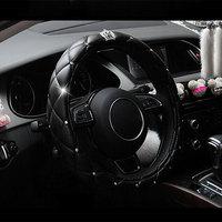 38cm Luxury Crystal Crown Studded Rhinestone Covered PU Leather Car Steering Wheel Cover Steerings Covers F-Best