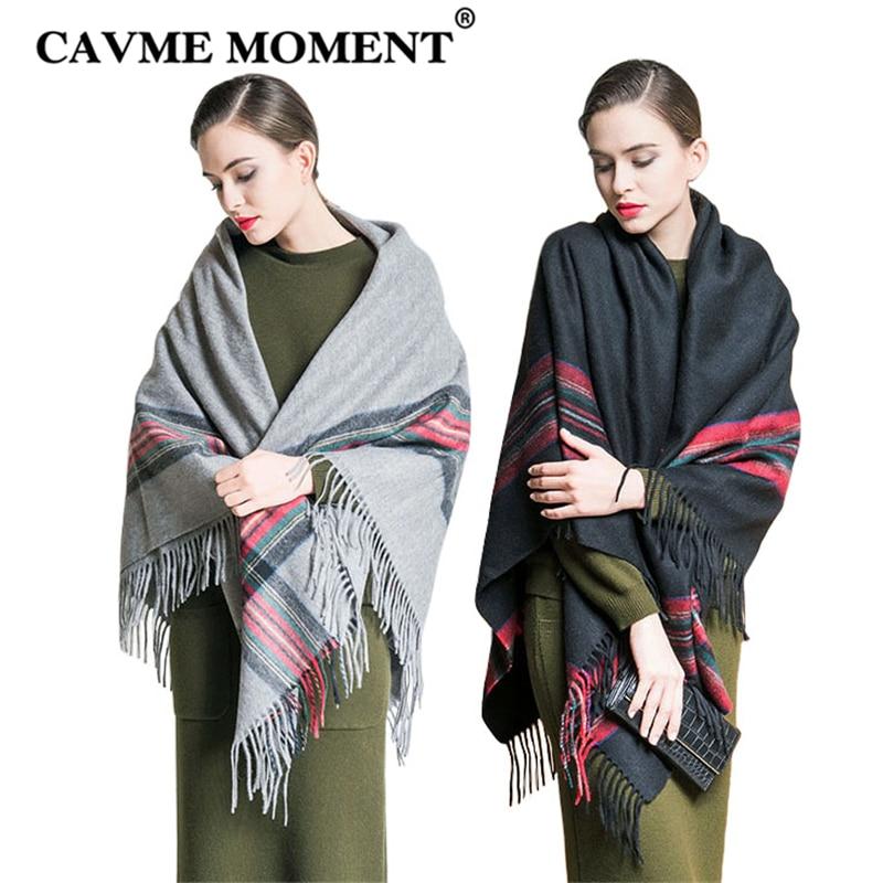 CAVME 2019 Pashimina de lana Largue para mujeres, bufanda de borlas para mujeres, chales en Color gris negro, 100% de invierno, chal de lana a cuadros