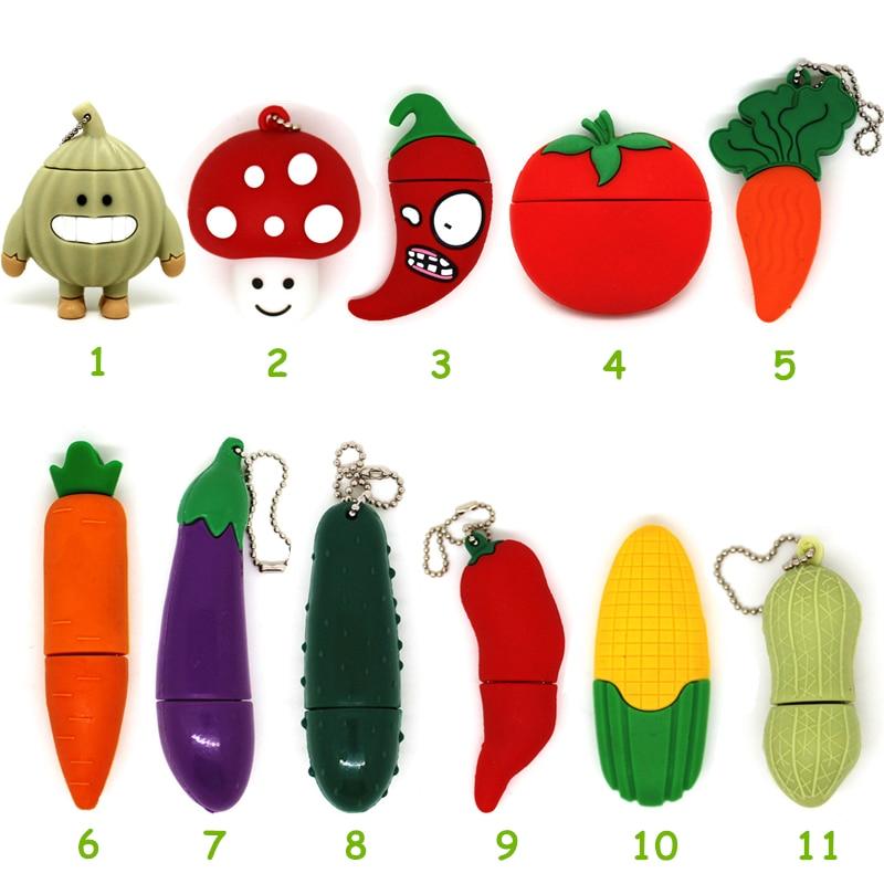 Desenhos animados legumes usb flash drives tomate/milhos/cenoura/peanut 4 gb 8 gb pendrive 16 gb 32 bastão de memória 64 gb pen drive u disk