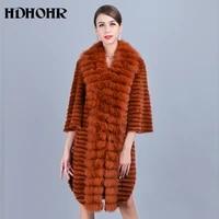 hdhohr 2021 fashion real mink fur coat women natural fox fur coat high quality fox fur collar jacket two color fashion fur coat