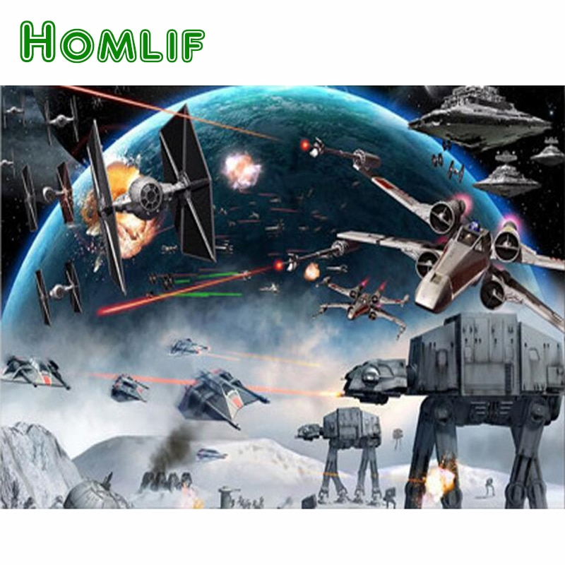 HOMLIF 3d diy diamond puzzle,5d diy diamond painting Star Wars Embroidery diamond mosaic Picture Of Rhinestone,wall stickers Art