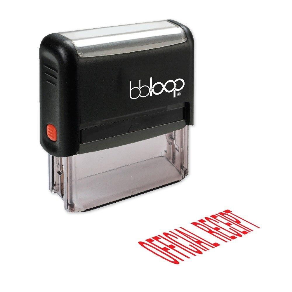 "BBloop, sello autoentintado de ""recepción oficial"", Rectangular, grabado con láser, Rojo"