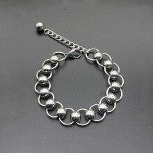 2019 New Design Men Bracelet Stainless Steel Round Beaded Bracelets& Bangles for Women Men Jewelry Gift Pulseira 23cm