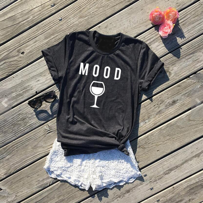 Moda Ropa Crewneck estilo Casual Alta Calidad Algodón Tees humor vino gráfico camiseta Hipster regalos para los amantes del vino camiseta