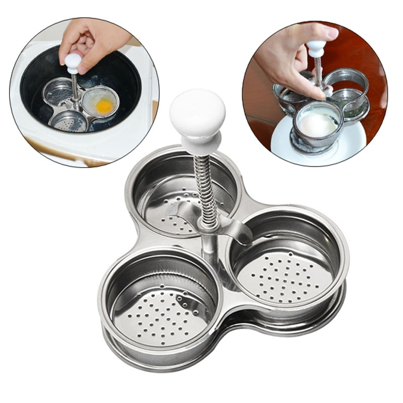 3 Pans Stainless Steel Scissors For Eggs Microwave Egg Poachers Cooker Boiler Steamer for Kitchen Gadget Kitchen Helpers
