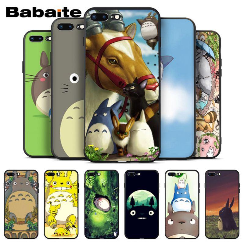 Totoro en espíritu Ghibli Miyazaki Anime impresión de dibujo caja del teléfono para iPhone 6 iPhone 6S 6 más 7 7plus 8 8 plus X Xs X MAX 5 5S XR