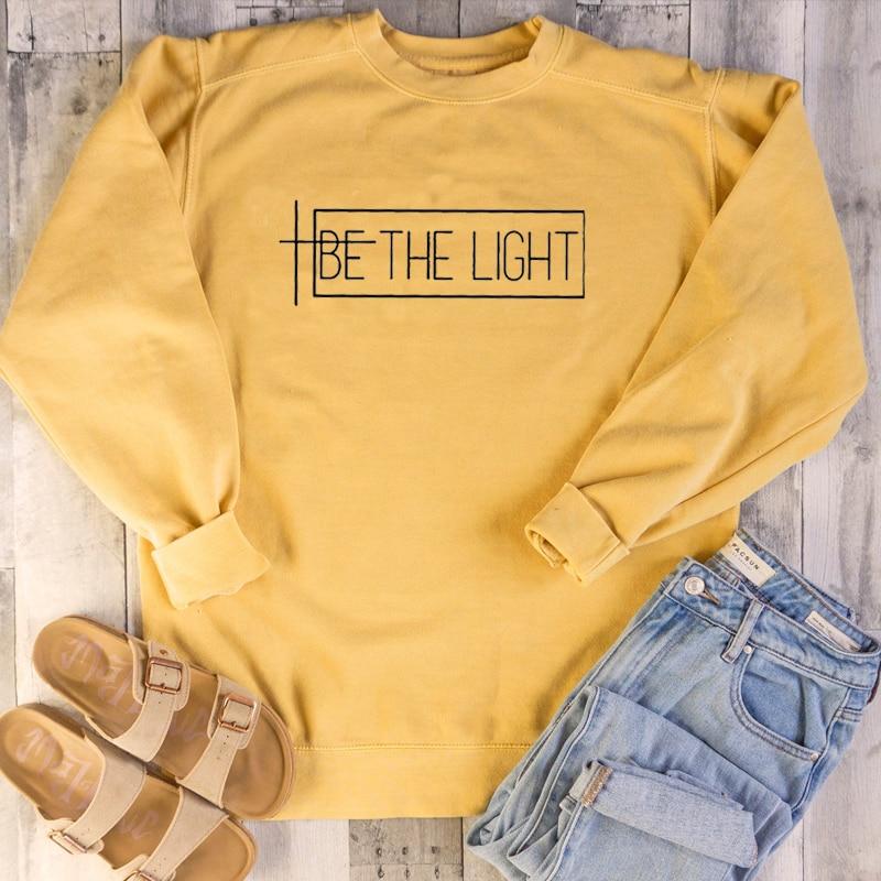 Толстовка Be the light Женская, модная, хипстерская, унисекс, повседневная, с цитатой