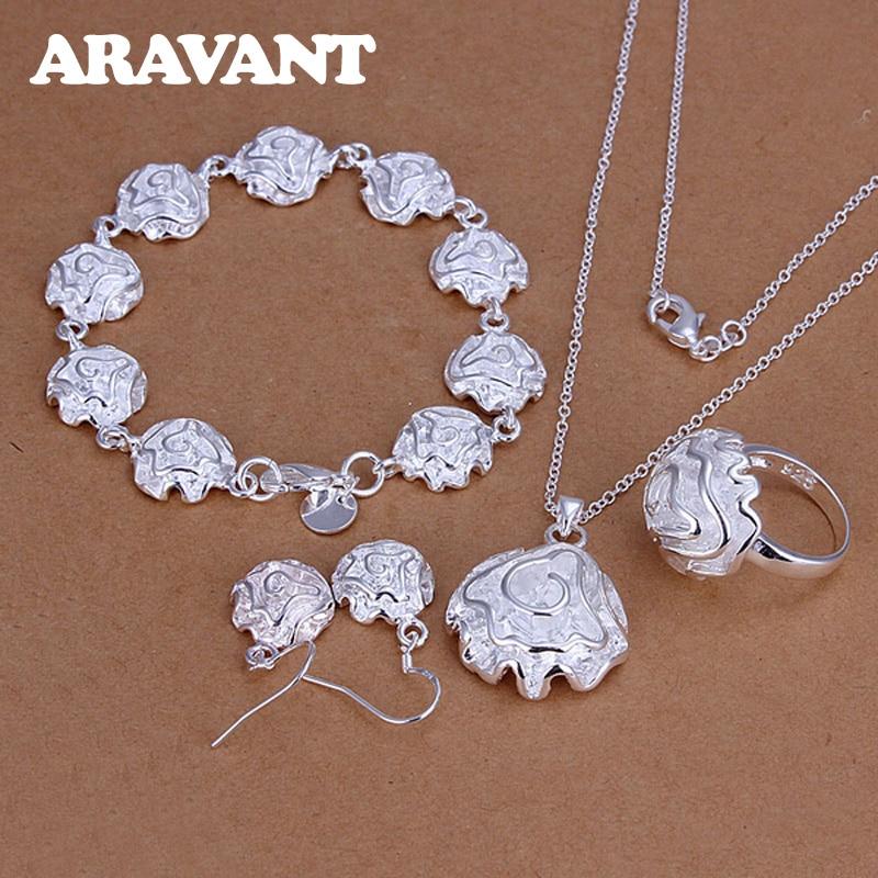 Braut Hochzeit Schmuck Set 925 Silber Schmuck Rose Blume Anhänger Halskette Armband Ring Ohrring Frauen Mode Schmuck