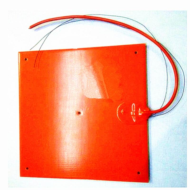 Cama de calor 300*300*1,5mm para impresora 3D calentador Flexible de goma de silicona 230v 600w adhesivo 1 lado 100k termistor 5*6mm almohadilla de agujeros