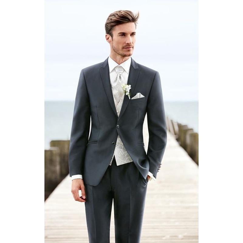 3 piezas (chaqueta + Pantalones + chaleco + corbata) traje De Hombre para graduación ajustado traje De Hombre chaqueta hecha a medida traje De caballero para boda