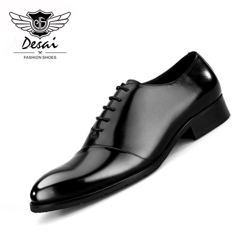 Zapatos recién llegados para hombre, trajes de negocios, zapatos de cuero estilo británico, zapatos de vestir para hombre, zapatos de boda, transpirables, talla 38-44 Eur