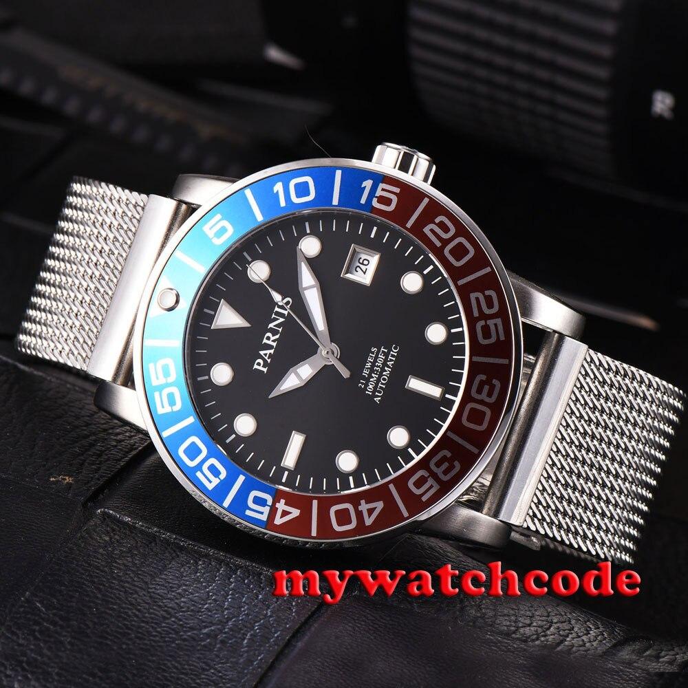 42mm parnis שחור חיוג כחול & אדום לוח תאריך miyota אוטומטי mens שעון P429B