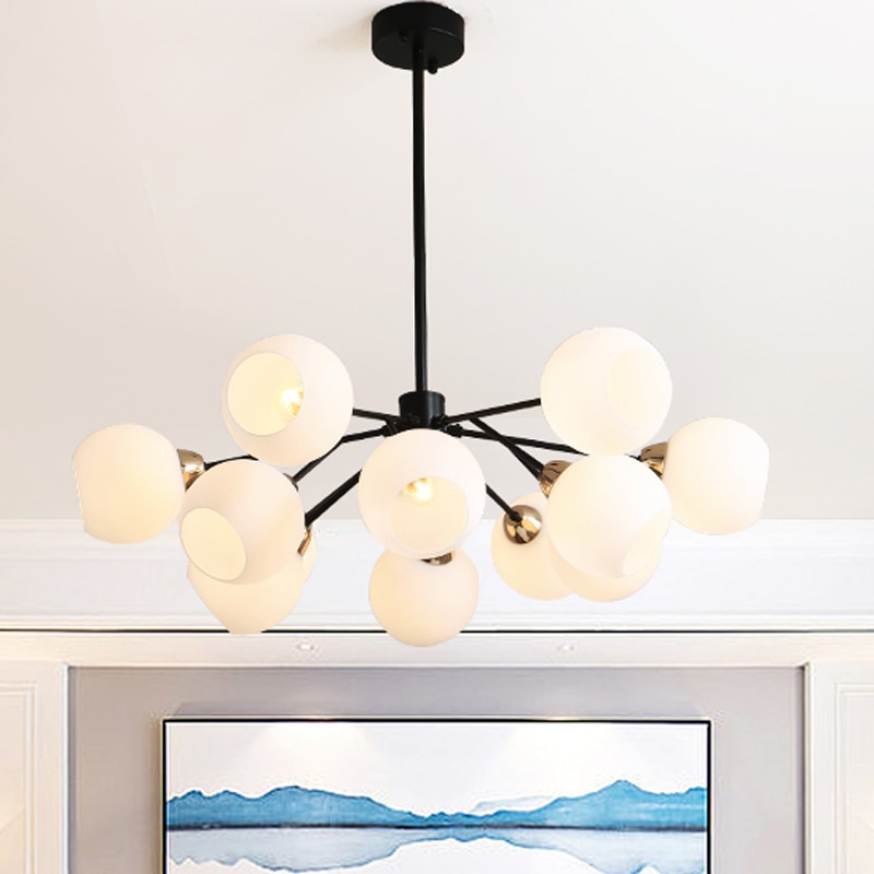 Nordic Creative Chandeliers modern foyer bedroom Grass with black luxury hanging lamp milk white glass ball lampshade droplight  - buy with discount