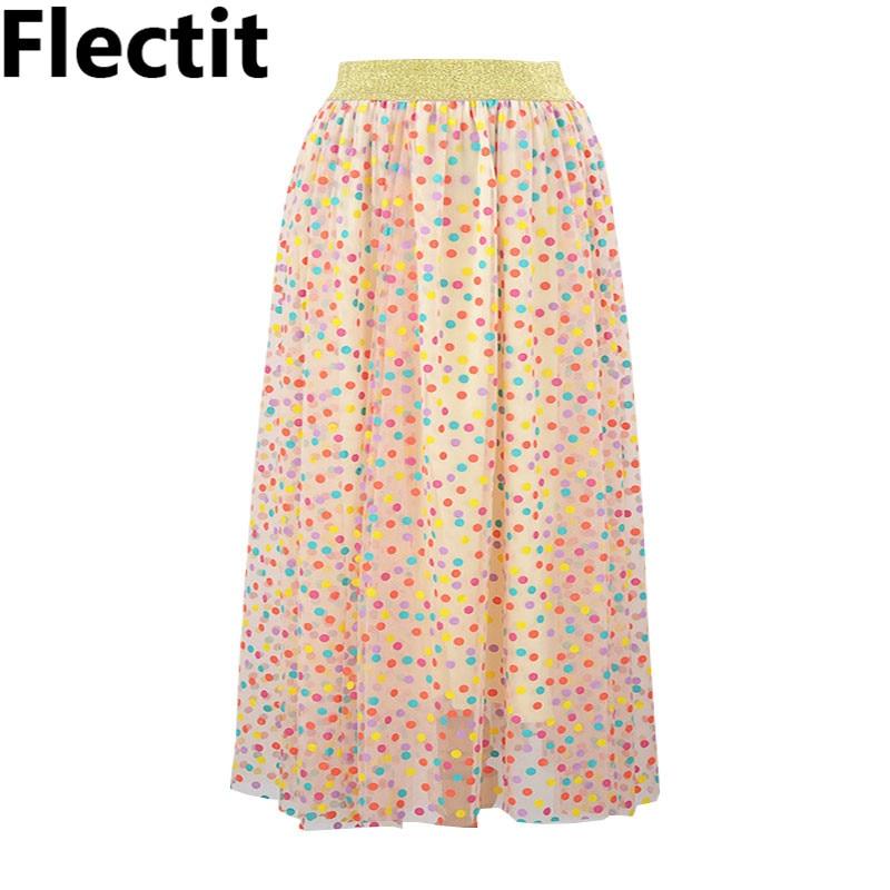 Flectit Spring Summer 2019 Cute Multi Color Polka Dot Skirt with Gold Waistband Layered Gauze Tulle Long Skirt Women Saia *