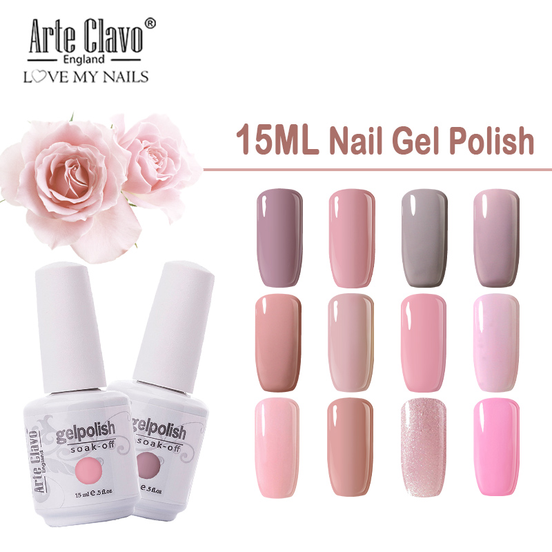 Arte Clavo Long-lasting Gel Nail Polish 15ML Nude Pink Colors UV Gel Varnish For Manicure Nail Art Primer Semi Permanent Enamel