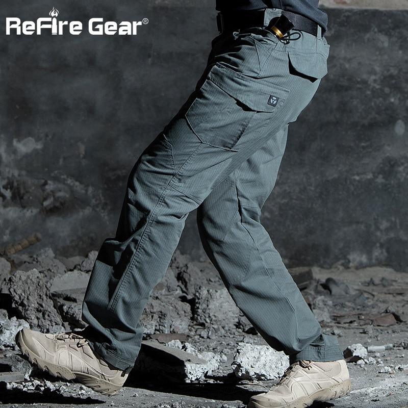 ReFire والعتاد M3 للماء التكتيكية العسكرية السراويل الرجال الخاصة SWAT الجيش القتالية البضائع السراويل متعدد جيب مزق وقف القطن السراويل