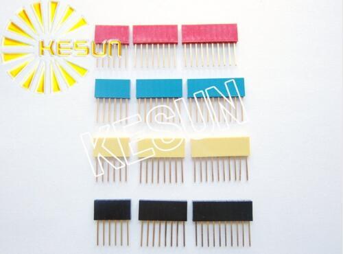 200pcs x 4Pin 6Pin 8Pin 10Pin 11mm 15mm Red Blue Yellow Orange Green PC104 Female Pin Header Strip Stackable Header Resistor