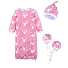 Reindeer Newborn Sleeping Bags Baby Romper Cap Glove Clothes Sets Infant Receiving Blankets Girls SleepSack 100% Cotton Jumpsuit