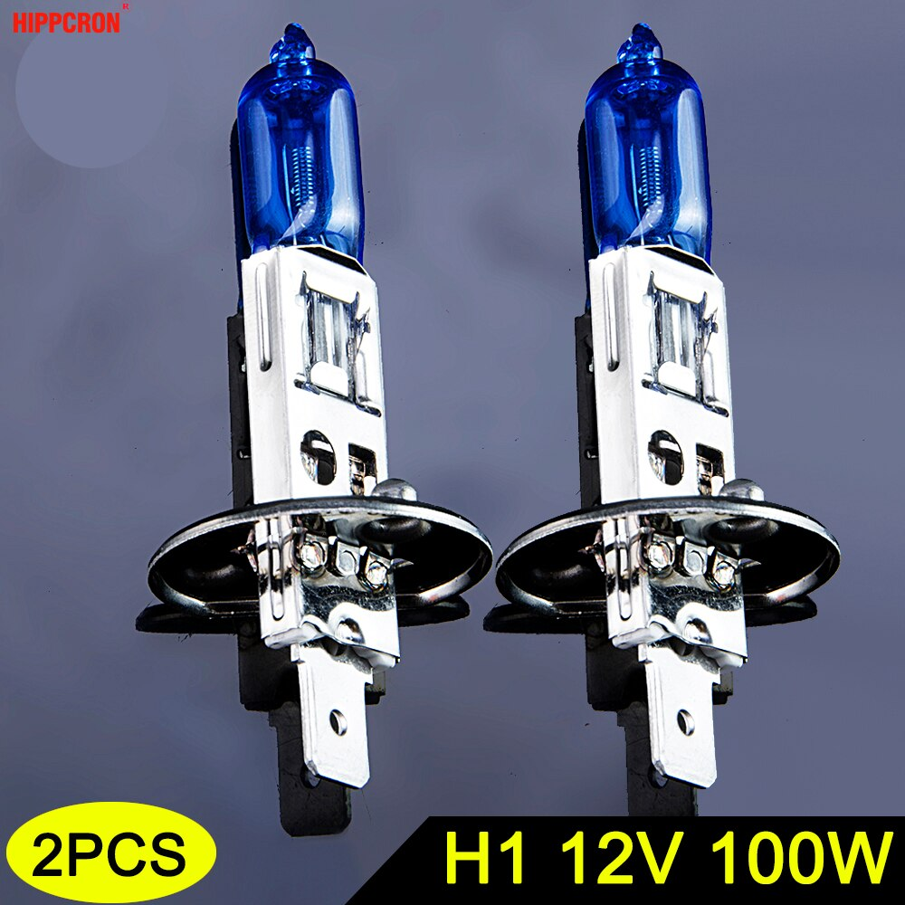 Hipcron lâmpada halógena h1 12 v 100 w 5000 k 2200lm farol do carro azul escuro de vidro de quartzo luz auto super branco (2 pces)