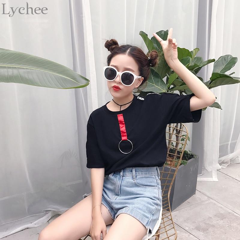 Lychee Harajuku Punk verano Mujer T anillo para camisa cinta letra impresión Casual suelta manga corta Camiseta camiseta