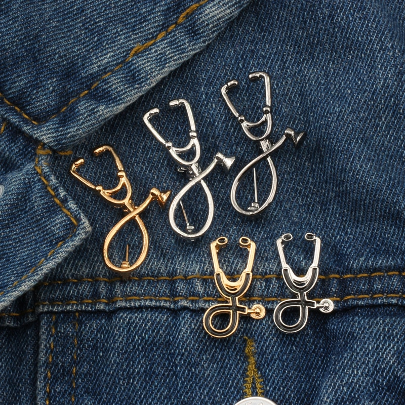 Высокое качество 2 стиля Броши Доктор Медсестры Брошь в виде стетоскопа медицинские ювелирные изделия Эмаль Булавка джинсовые куртки воротник значок кнопки