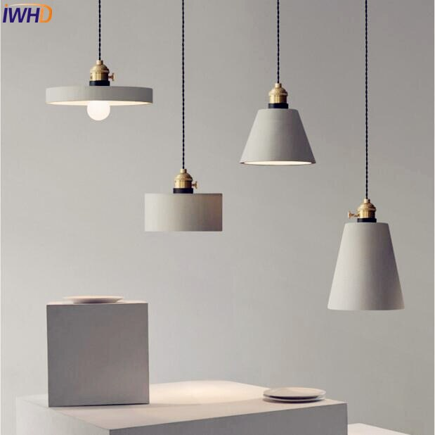 Lámparas colgantes de cemento nórdico LED, lámpara americana creativa Vintage, lámpara de sala de comedor, luminaria de suspensión, iluminación Loft