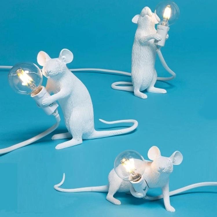 Modern Resin Mouse Table Lamp LED E12 mouse Table Lamps Desk Nordic Kids' Room Decor LED Night Lights EU/AU/US/UK Plug