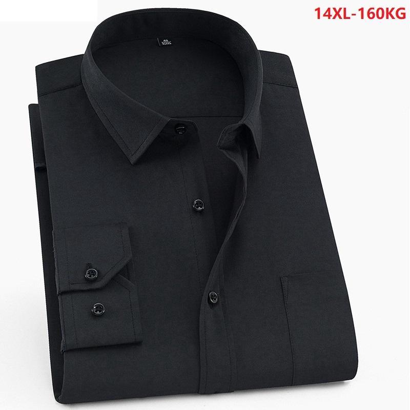 Large size 10XL 11XL 12XL 13XL 14XL shirt business office comfortable men's long sleeve lapel black top 7XL 8XL 9XL