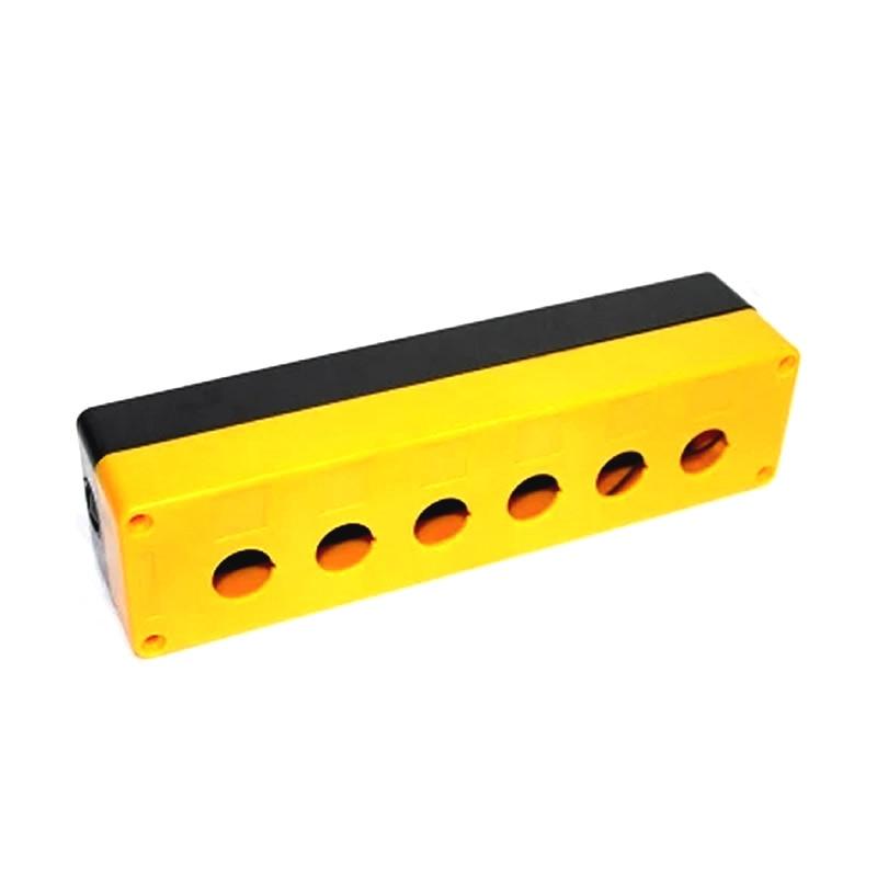 Caja de interruptor de botón protección impermeable 22mm 6 seis orificios interruptor inteligente Panel táctil caja de interruptor remoto con amarillo