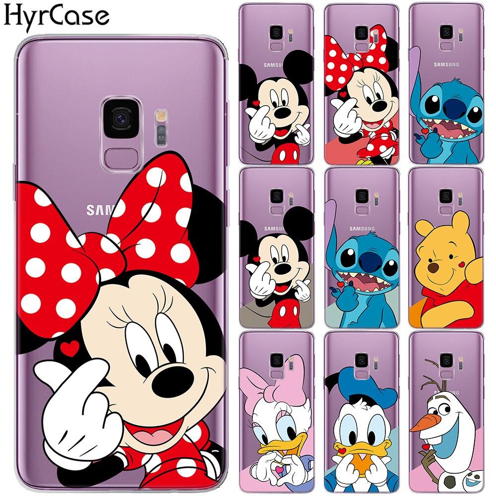 Dibujos Animados Mickey Minnie y Stitch pato dedo corazón suave funda para Samsung Galaxy S5 Mini S7 S6 Edge S8 Plus S9 S10 Plus S10E