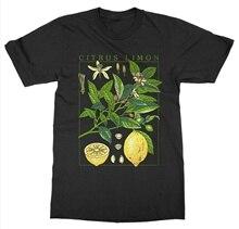 fashionshow-JF Short Sleeve Lemon T-Shirt Botanical Garden Plant Print Art Botany Bloom Fruit Flower Growfishing T Shirts